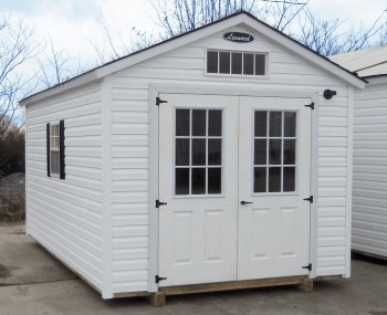 B-HMP2-1016-161 - Vinyl Cottage style shed with double 9-Lite Doors on the end