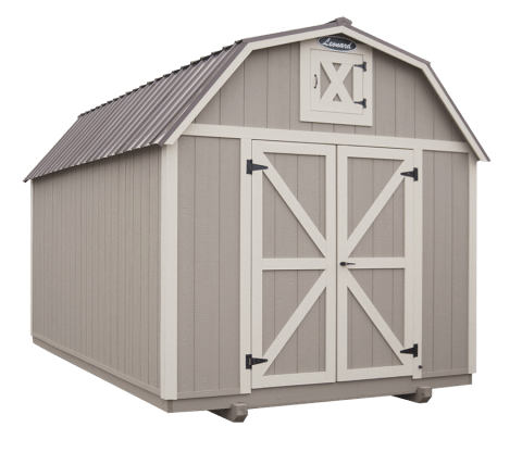 Grey barn with metal roof