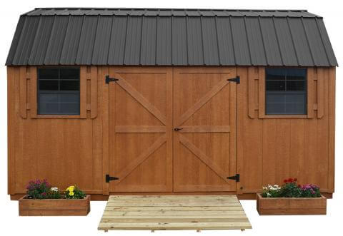 Stain shed with metal roof
