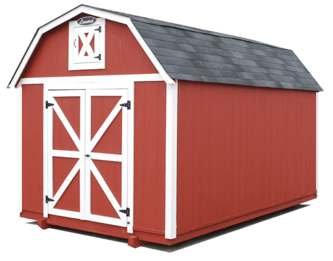 red barn with shingle roof