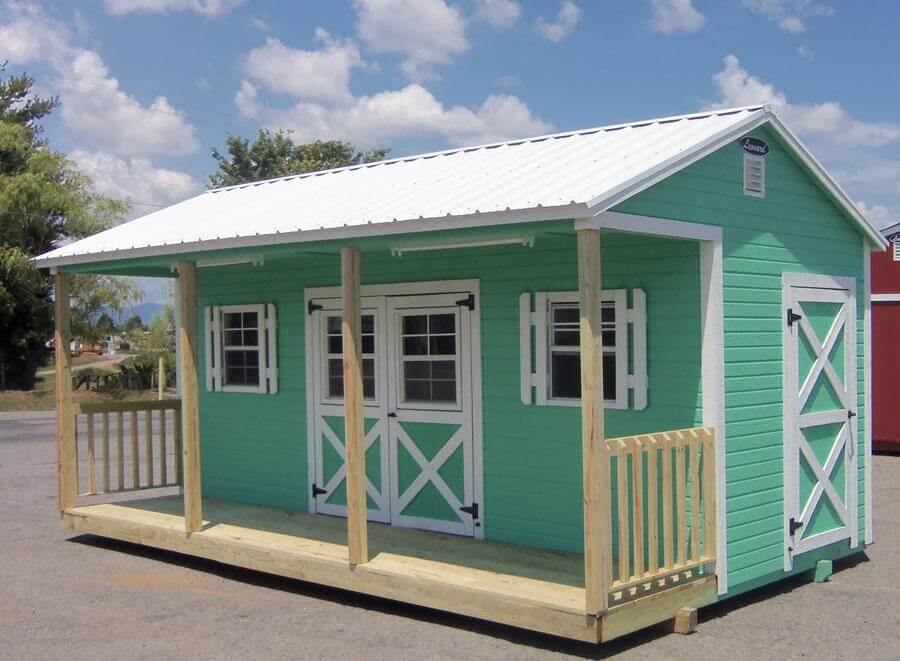 Leonard Custom built 12x20 painted ranch style storage building with porch